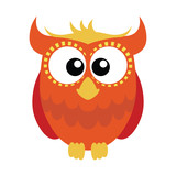 Orange red cartoon owl