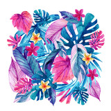 Watercolor exotic leaves and flowers background. - 159881975