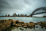 Skyline of Sydney downtown  with Harbour Bridge, NSW, Australia