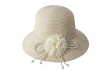Woven beige hat decorated with flowers made of fabric and rope, isolated on a white background.