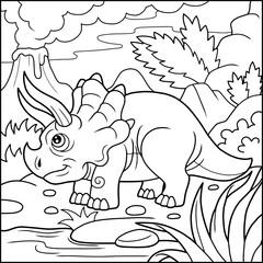 Cartoon cute triceratops coloring book