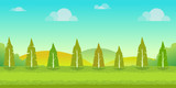 Seamless cartoon nature landscape, unending background with trees, hills and cloudy sky layers. Vector illustration for your design.
