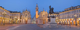 TURIN, ITALY - MARCH 13, 2017: The Piazza San Carlo square at dusk. - 159919705