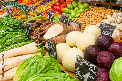Vegetables at market stall