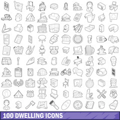 100 dwelling icons set, outline style