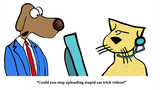 Cartoon about a dog asking the cat to stop uploading cat trick videos. - 159938331