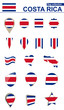 Costa Rica Flag Collection. Big set for design.