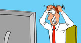 Business cartoon illustration of a business man pulling his hair out as he looks at his computer screen. - 159962155