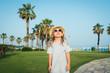 cute girl sunglasses hat palm