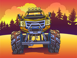 Vector Cartoon Monster Truck on the evening landscape in Pop Art style. Extreme Sports. - 160020733