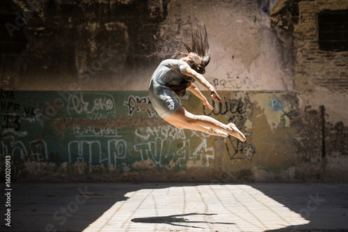 Beautiful ballerina in the air