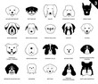 Dog Faces Stroke Monochrome Icon Cartoon 3