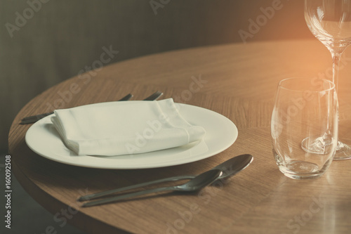 table wedding decoration with dish spoon and fork - 160092508