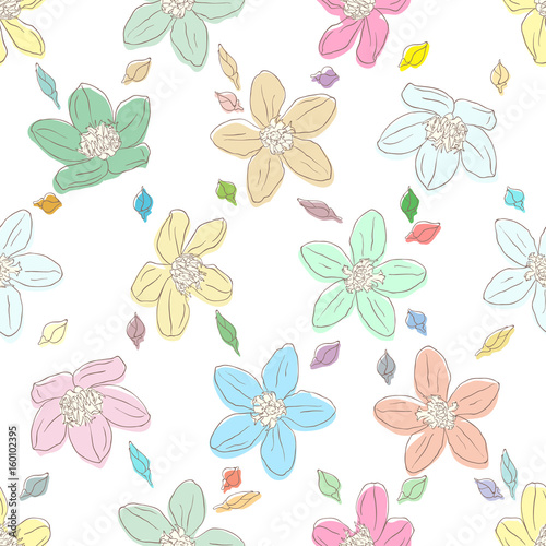 Floral element on bright seamless background. - 160102395