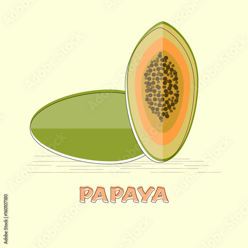 Vector papaya fruit in flat design isolated object  - 160107180