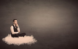 Man sitting on a cloud with plain background - 160120794