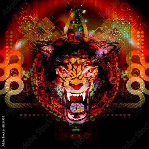 Aluminium Reznik Красочная художественная или декоративная роспись с мордой льва