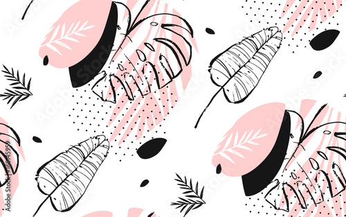 Hand drawn vector abstract artistic freehand textured tropical palm leaves seamless pattern in pastel colors with polka dots texture - 160145959