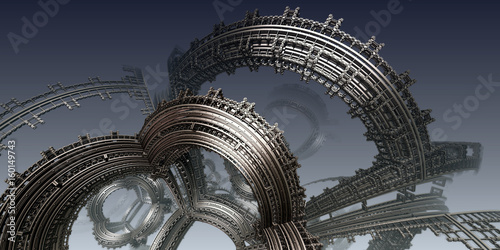 Staande foto Abstract wave Abstract background, fantastic 3D structures, fictional background.