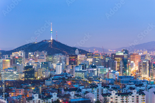 Seoul cityscape at night in South Korea Poster