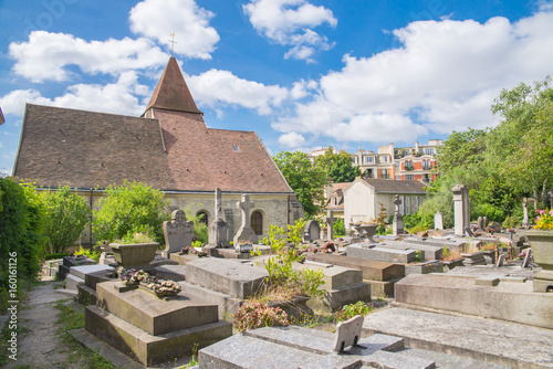 Paris, Charonne church and cemetery, Saint-Germain-de-Charonne,in Saint-Blaise d Poster