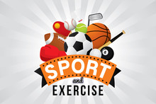 Sport And Exercise Club  Sports Ball And Equipment Sticker
