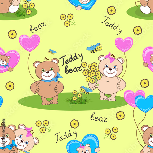 Fototapeta Teddy bears seamless pattern