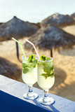 Two glasses of famous Cuban cocktail - Mojito.