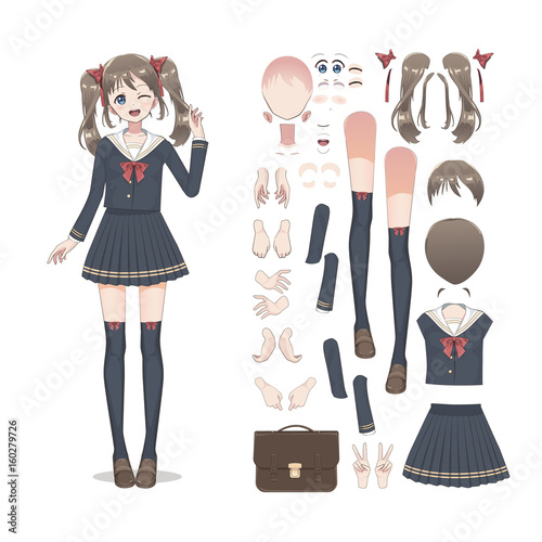 Anime manga schoolgirl in a skirt, stockings and schoolbag. Cartoon character in the Japanese style. Set of elements for character animation - 160279726