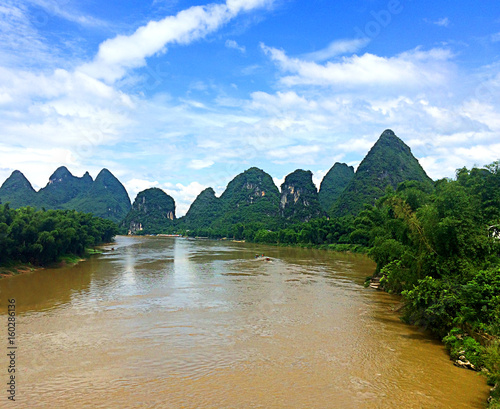 Jagged mountain peaks of Yangshuo along the Li River in China
