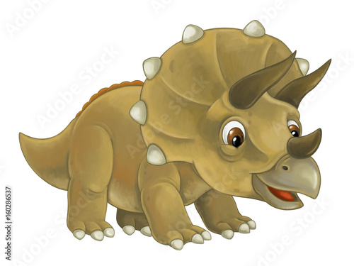cartoon happy and funny dinosaur dinosaur - triceratops - 160286537
