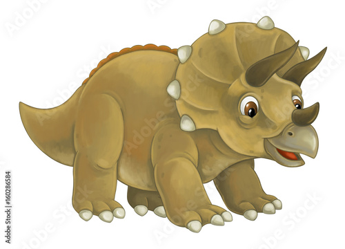 cartoon happy and funny dinosaur dinosaur - triceratops - 160286584