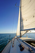 Sailboat at sea with view of horizon, Toronto, Ontario, Canada.