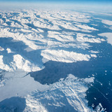 Aerial view, high angle view of polar landscape and sea, Iceland, Europe.
