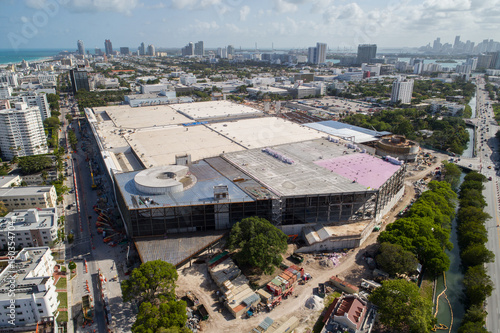 Aerial image of the Miami Beach Convention Center under construction