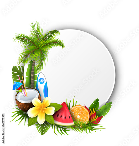 Card with Coconut Cocktail, Slice Watermelon, Orange Fruit and Flowers - 160375951