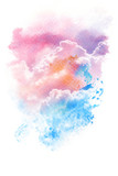 Watercolor illustration of sky with cloud. - 160446335