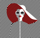 Fototapety Beautiful young woman with sunglasses and hat, retro style. Pop art. Summer holiday.