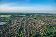 Panorama flight over the east of Hamburg Germany - 160460577