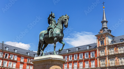 Statue of King Philips III at Plaza Mayor in Madrid, Spain