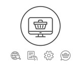 Online Shopping cart line icon. Monitor sign.