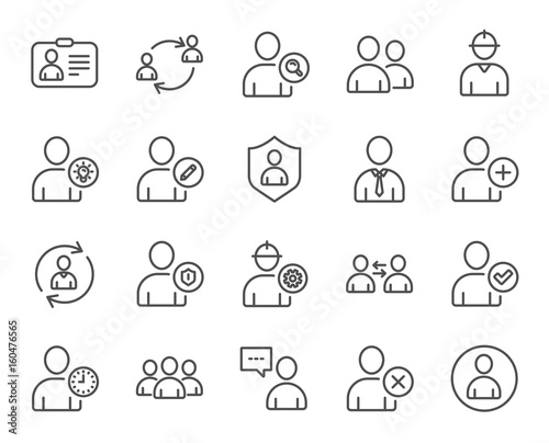 Users line icons. Profile, Group and Support.