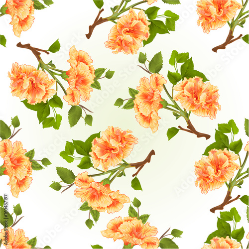 Fototapeta Seamless texture branch yellow hibiscus tropical flowers on a white background vintage vector illustration hand draw