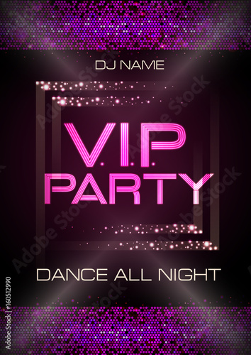 Neon sign. V.I.P. party. Disco poster