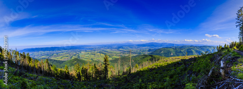 Mountain summer panorama landscape. Beskidy mountain in southern Poland. View at Żywiec, Żywieckie Lake and Babia Góra. - 160529191