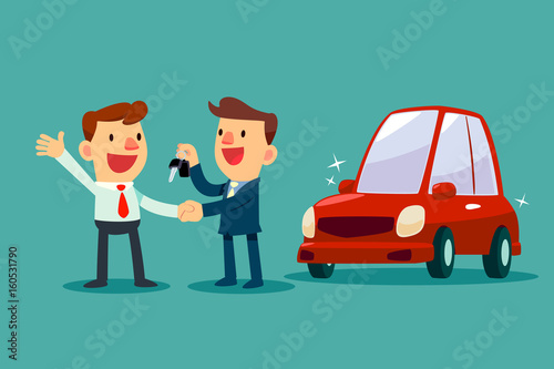 Fotobehang Auto car salesman give a handshake and new car key to businessman