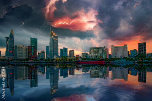 Awesome moment when the storm is coming to the city at riveside of Ho Chi Minh city - the biggest city in Vietnam - 160537385