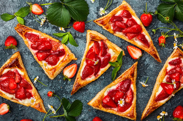 Strawberry Puff Pastry Triangles