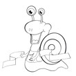 Coloring book Snail runner. Cartoon style. Clip art for children.