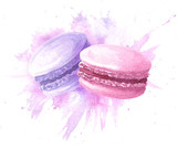 Watercolor hand drawn macaron french cakes with stain splash, colorful dessert pastry. Food illustration isolated on white background. - 160567560